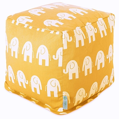 Majestic Home Goods Indoor Poly/Cotton Twill Ellie Small Cube, Yellow/White