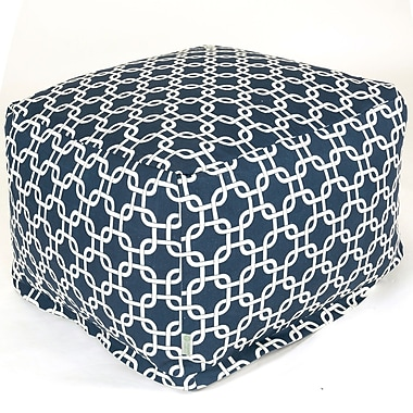 Majestic Home Goods Indoor Poly/Cotton Twill Links Large Ottoman, Navy Blue/White