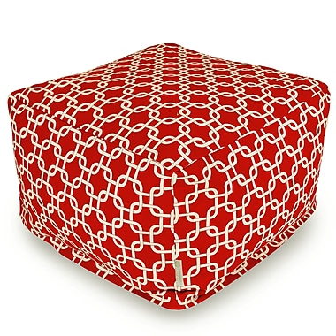 Majestic Home Goods Indoor Poly/Cotton Twill Links Large Ottoman, Red/White