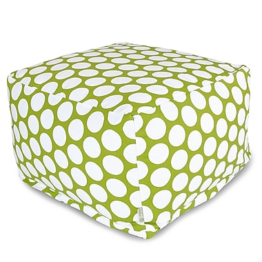 Majestic Home Goods Indoor Poly/Cotton Twill Polka Dot Large Ottoman, Hot Green/White