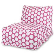 Majestic Home Goods Indoor Large Polka Dot Cotton Duck Bean Bag Chair Lounger, Hot Pink