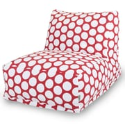 Majestic Home Goods Indoor Large Polka Dot Cotton Duck Bean Bag Chair Lounger, Red Hot