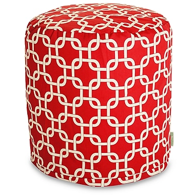Majestic Home Goods Indoor Poly/Cotton Twill Links Small Pouf, Red/White