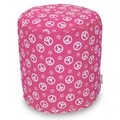 Majestic Home Goods Indoor Poly/Cotton Twill Peace Small Pouf, Hot Pink/White