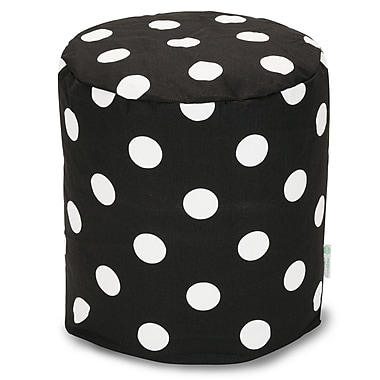 Majestic Home Goods Indoor Poly/Cotton Twill Polka Dot Small Pouf, Black/White