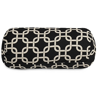 Majestic Home Goods Indoor/Outdoor Links Round Bolster Indoor/Outdoor Pillow, Black