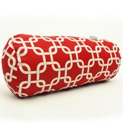 Majestic Home Goods Indoor Links Round Bolster Pillow, Red
