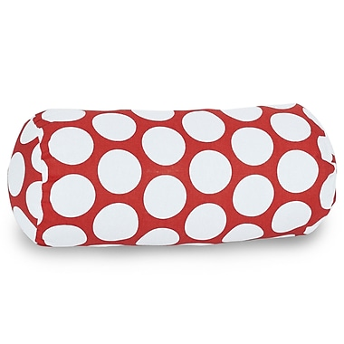 Majestic Home Goods Indoor Large Polka Dot Round Bolster Pillow, Red Hot