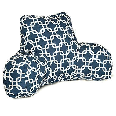 Majestic Home Goods Indoor Links Reading Pillow, Navy Blue