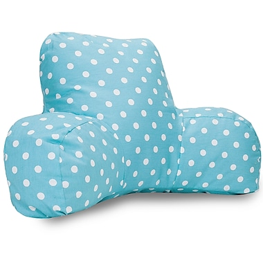 Majestic Home Goods Indoor Small Polka Dot Reading Pillow, Aquamarine