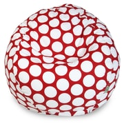 Majestic Home Goods Indoor Large Polka Dot Cotton Duck/Twill Small Classic Bean Bag Chair, Red Hot