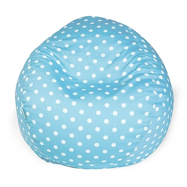 Majestic Home Goods Small Polka Dot Cotton Duck/Twill Small Classic Bean Bag Chair, Aquamarine