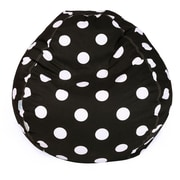 Majestic Home Goods Indoor Large Polka Dot Cotton Duck/Twill Small Classic Bean Bag Chair, Black