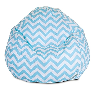 Majestic Home Goods Indoor Chevron Cotton Duck/Twill Small Classic Bean Bag Chair, Tiffany Blue