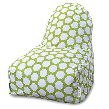 Majestic Home Goods Indoor Large Polka Dot Cotton Duck/Twill Kick-It Bean Bag Chair, Hot Green