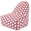 Majestic Home Goods Indoor Large Polka Dot Cotton Duck/Twill Kick-It Bean Bag Chair, Red Hot