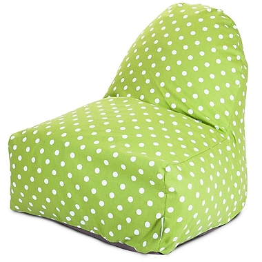 Majestic Home Goods Indoor Small Polka Dot Cotton Duck/Twill Kick-It Bean Bag Chair, Lime