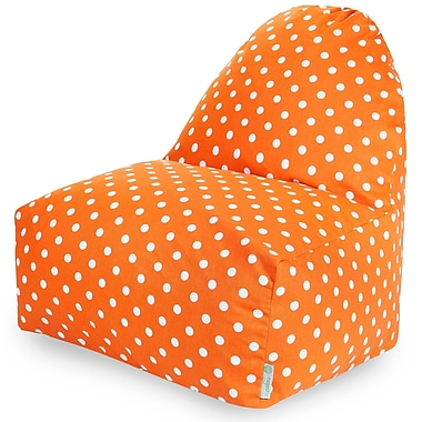 Majestic Home Goods Indoor Small Polka Dot Cotton Duck/Twill Kick-It Bean Bag Chair, Tangerine