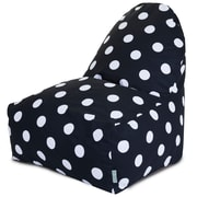 Majestic Home Goods Indoor Large Polka Dot Cotton Duck/Twill Kick-It Bean Bag Chair, Black