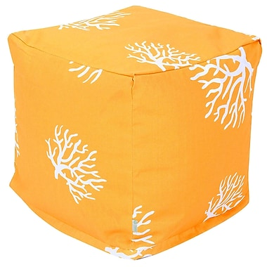 Majestic Home Goods Outdoor Polyester Coral Small Cube Ottoman, Yellow