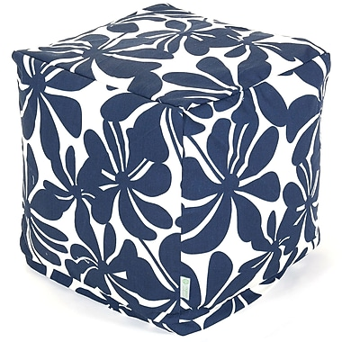 Majestic Home Goods Outdoor Polyester Plantation Small Cube Ottoman, Navy Blue