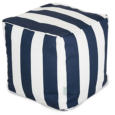 Majestic Home Goods Outdoor Polyester Vertical Stripe Small Cube Ottoman, Navy Blue