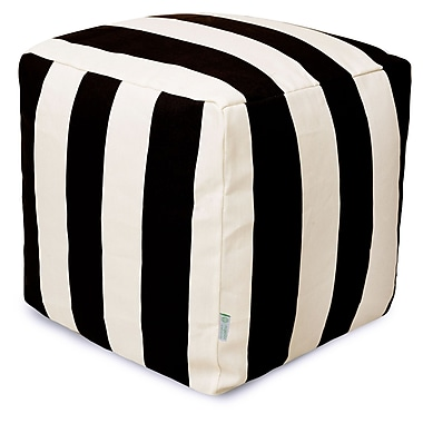 Majestic Home Goods Outdoor Polyester Vertical Stripe Small Cube Ottoman, Black