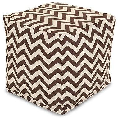 Majestic Home Goods Outdoor Polyester Chevron Small Cube Ottoman, Chocolate