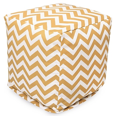 Majestic Home Goods Outdoor Polyester Chevron Small Cube Ottoman, Yellow