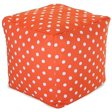 Majestic Home Goods Outdoor Cotton Duck/Twill Ikat Dot Small Cube Ottoman, Orange