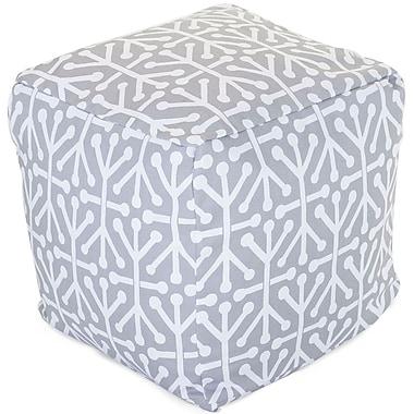 Majestic Home Goods Outdoor Cotton Duck/Twill Aruba Small Cube Ottoman, Gray