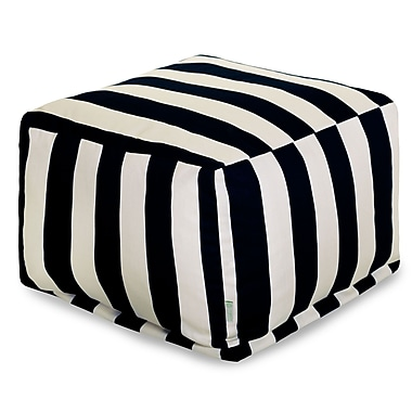 Majestic Home Goods Outdoor Polyester Vertical Stripe Large Ottoman, Black
