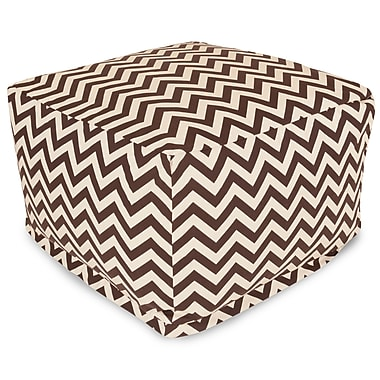 Majestic Home Goods Outdoor Polyester Chevron Large Ottoman, Chocolate