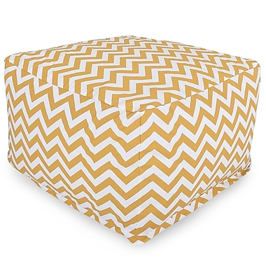 Majestic Home Goods Outdoor Polyester Chevron Large Ottoman, Yellow