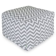 Majestic Home Goods Outdoor Polyester Chevron Large Ottoman, Gray