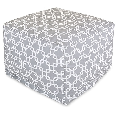 Majestic Home Goods Outdoor Polyester Links Large Ottoman, Gray