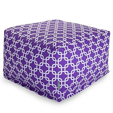 Majestic Home Goods Indoor Poly/Cotton Twill Links Large Ottoman, Purple/White