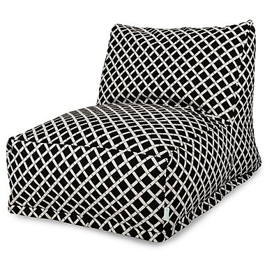 Majestic Home Goods Outdoor Polyester Bamboo Bean Bag Chair Lounger, Black