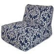 Majestic Home Goods Outdoor Polyester French Quarter Bean Bag Chair Lounger, Navy Blue