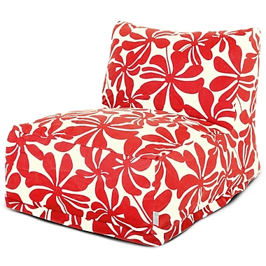 Majestic Home Goods Outdoor Polyester Plantation Bean Bag Chair Lounger, Red