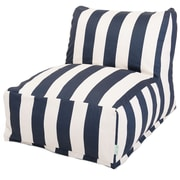 Majestic Home Goods Outdoor Polyester Vertical Stripe Bean Bag Chair Lounger, Navy Blue