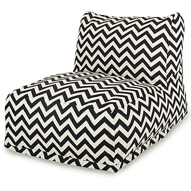 Majestic Home Goods Outdoor Polyester Chevron Bean Bag Chair Lounger, Black