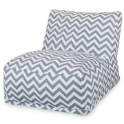 Majestic Home Goods Outdoor Polyester Chevron Bean Bag Chair Lounger, Gray