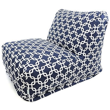Majestic Home Goods Outdoor Polyester Links Bean Bag Chair Lounger, Navy Blue