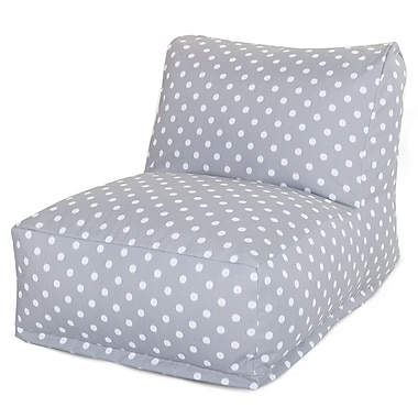 Majestic Home Goods Outdoor Polyester Ikat Dot Bean Bag Chair Lounger, Gray
