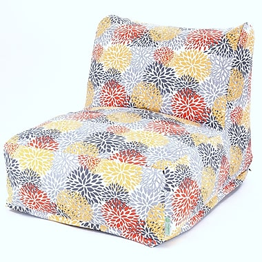 Majestic Home Goods Outdoor Polyester Blooms Bean Bag Chair Lounger, Citrus
