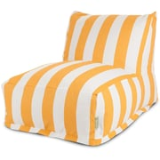 Majestic Home Goods Outdoor Polyester Vertical Stripe Bean Bag Chair Lounger, Yellow