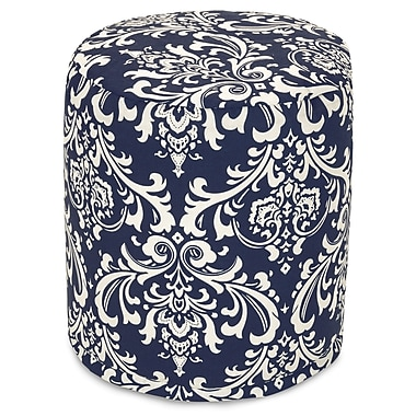 Majestic Home Goods Outdoor Polyester French Quarter Small Pouf Ottoman, Navy Blue
