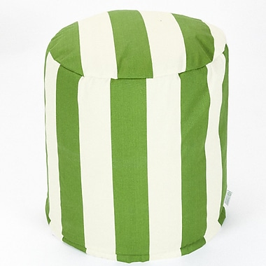Majestic Home Goods Outdoor Polyester Vertical Stripe Small Pouf Ottoman, Sage