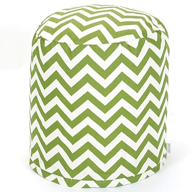 Majestic Home Goods Outdoor Polyester Chevron Small Pouf Ottoman, Sage